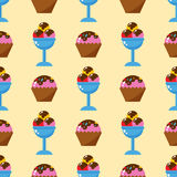 Little delicious cupcakes sweet dessert seamless pattern birthday party food cream sprinkles frosting snack vector Royalty Free Stock Image