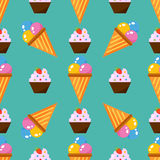 Little delicious cupcakes sweet dessert seamless pattern birthday party food cream sprinkles frosting snack vector. Little delicious cupcakes sweet dessert Royalty Free Stock Image