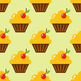 Little delicious cupcakes sweet dessert seamless pattern birthday party food cream sprinkles frosting snack vector Royalty Free Stock Photos