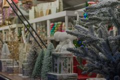 A little detail of a Christmas market in the street royalty free stock image