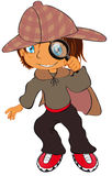 A little detective. Vector illustration shows a small child as a detective Stock Image