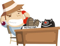 Little detective boy answering the phone Royalty Free Stock Photography