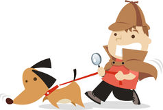 Little detective boy with his dog Stock Images