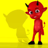 Little Devil #01. A cute little red devil in front of a yellow baclground with shadow Stock Image