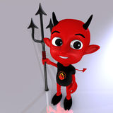 Little Devil #04. A cute little red devil with a fork in his hand Stock Photography