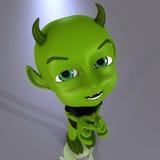 Little Devil #08. Cute little green devil Royalty Free Stock Images
