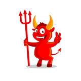 Little Devil or Demon character. Funny Smiling Little Demon or Devil cartoon character. Halloween vector illustration isolated on white background Royalty Free Stock Photography