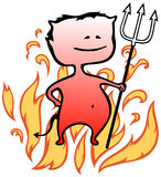 Little devil with flames in background - Halloween Royalty Free Stock Photos