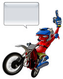 Little Devil Giving the Finger Riding Motto Cross Stock Image