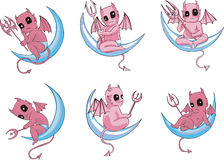 Little devils on moon Royalty Free Stock Images