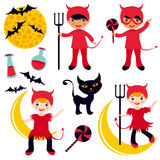 Little devils set Stock Images