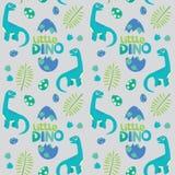 Little Dino Brontosaurus Seamless Pattern Gray Background Vector Illustration Stock Photos
