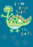 Little Dino's rule. Vector illustration of a dinosaur for children Royalty Free Stock Photo