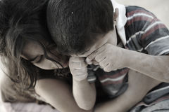 Little dirty brother and sister, poverty Stock Photo