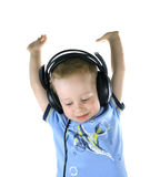 Little DJ putting hands up Royalty Free Stock Photography