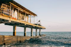 A little dock house at the sea stock photo