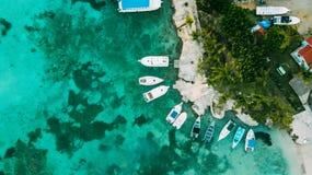 Little dock. Under yachts parking. Caribbean sea royalty free stock photos