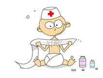 Little doctor with cardiogram Stock Image