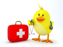 Little doctor chick. With first aid kit and stethoscope on white - 3D render Royalty Free Stock Photo