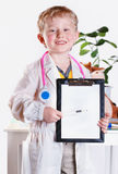 Little doctor with clip board. Smiling little doctor with clip board in hands Stock Photos