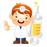 Little doctor Kid is holding a large dice. Education and life Ch Stock Image