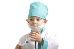 Little doctor with syringe Royalty Free Stock Image