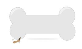 Little dog and big bone. Vector illustration - small dachshund dog looking up at an enormous bone stock illustration