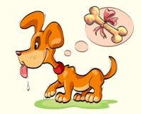 Little dog with bone Stock Photo