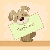 Little dog. Little laughable dog with the merry letter royalty free illustration