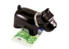 Little dog moneybox. Doggy moneybox with a diamond necklace Royalty Free Stock Photography