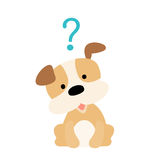 Little dog wondering cartoon character  Royalty Free Stock Image