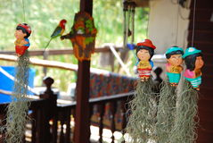 Little dolls and outdoor design of thai house Royalty Free Stock Images