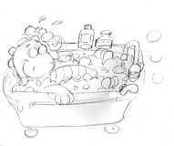 The little dragon is in bathtub ,sketches and pencil sketches and doodles Royalty Free Stock Photo