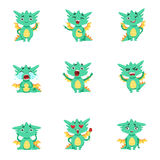 Little Dragon Cute Emoji Set Royalty Free Stock Image