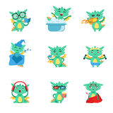 Little Dragon Everyday Activities And Emotions Set. Cute Detailed Stickers With Childish Fantastic Animal In Funny Situations Royalty Free Stock Photo