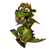 A little Dragon has  stomach ache. 3d rendering of a small dragon  with full stomach in comic style as illustration Stock Photography
