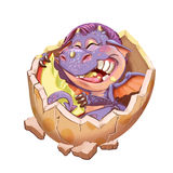 Little dragon in the lodge from a shell. Cartoon little dragon in the lodge from a shell. Raster illustration Stock Image
