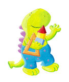 Little dragon mathematician Royalty Free Stock Images