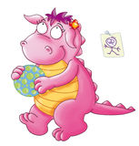 The little dragon, plays with ball Royalty Free Stock Images