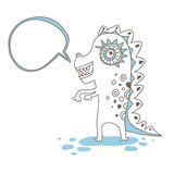 Little dragon and speech bubble. Vector illustration. Isolated Stock Images