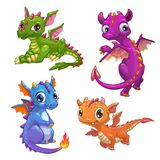 Little dragons set. Funny fantasy characters, isolated on white background. Vector cartoon colorful icons Stock Image