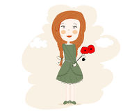 Little dream girl with corn poppy in her hand vector  Royalty Free Stock Image