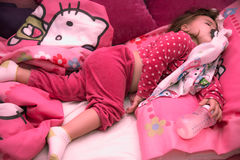 Little dream. 2 years old little girl sleep in home bed Stock Photos