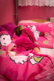 Little dream. 2 years old little girl sleep in home bed Stock Photo