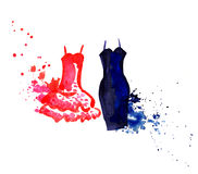 Little dress. Fancy dress painted in watercolor. watercolor cocktail dress. hand-painted clothing for the holiday. red and blue dress. dress to choose from. what Stock Photos