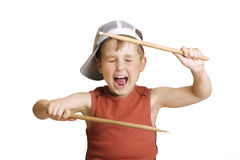 Little drummer boy. Making a loud noise Stock Photo