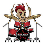 Little drummer. Vector of a teenager playing the drum Royalty Free Stock Photography