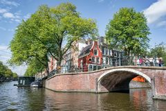 Little Dutch House at the End of the Bridge royalty free stock images