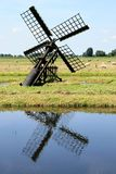 Little Dutch Watermill In A Peat Area Stock Images
