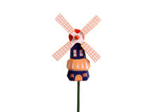 Little Dutch windmill against a white background Royalty Free Stock Photos